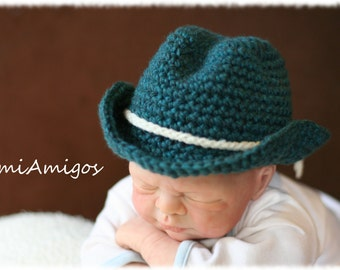 Crochet Blue Cowboy Hat (Newborn)