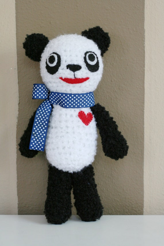 Crochet Fuzzy Panda Stuffed Animal