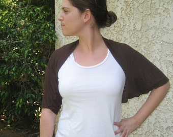 ON SALE bolero, brown shrug, short sleeve shrug, gift for her, shawl shrug, gift for mom, brown bolero