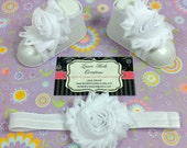 White Barefoot Sandals with optional matching Headband, Newborn Sandal, Baby Shoes, Toddler Sandals, Shabby Flower