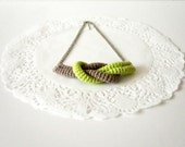 Together, crochet knot necklace. Nautical knot necklace. Lime green and sand cotton yarn.