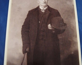 Sepia Cabinet Photograph Man Holding Hat and Cane One Hand Gloved