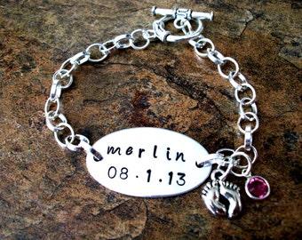 New Baby Bracelet, Personalized Jewelry, Toggle Clasp Bracelet, Keepsake New Mom Baby Bracelet