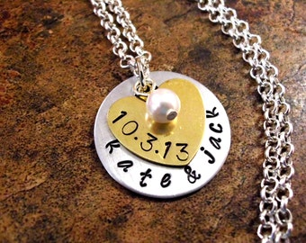 Personalized Jewelry, Wedding Necklace, Wedding Date Necklace, Engagement Jewelry, Anniversary Jewelry