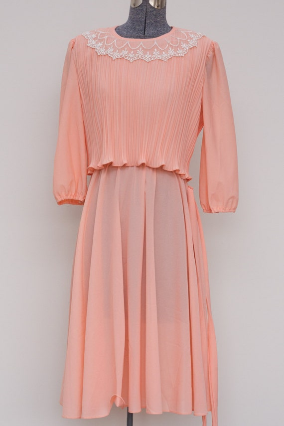 Peach Accordion Pleated 70's Dress