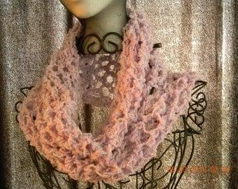 Lacy Crochet Cowl in Lavender, Purple Neckwarmer