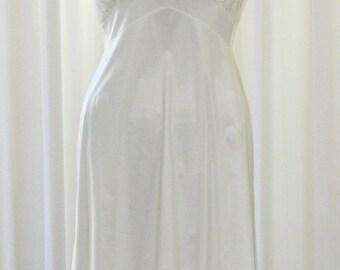 Vanity Fair Sheer Lace Chiffon Slip Mini Peaked Waistline Darted Back Scalloped Hemline by Voila Vintage Lingerie
