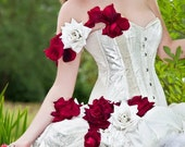 Unique alternative Wedding dress/ prom with flowers roses ivory/ white MADE TO ORDER/ measure