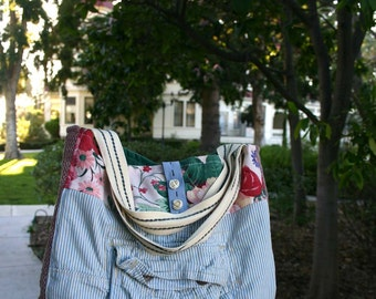 Pinstripe Upcycle cargo pockets tote bag with floral print