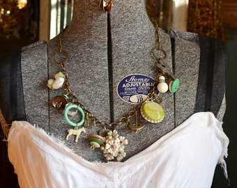 YOUR Found Objects Mixed w/ Trinkets and Treasures Repurposed into Junk Necklace: ReaganJuel