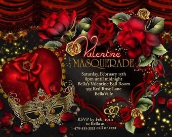Masquerade Valentine Party Invitations, Valentines Day Party, Party Invitations
