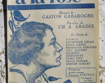 Vintage French 1920's  Song / Sheet Music - La Femme à la Rose
