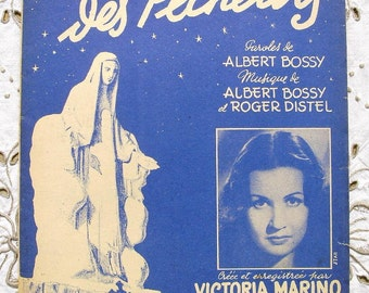 Vintage French 1950's Song / Sheet Music  - 'La Madone des Pêcheurs' (The Madonna of Fishermen)