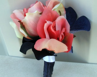 Coral rose Boutonniere, Silk wedding boutonnieres coral and navy boutonniere