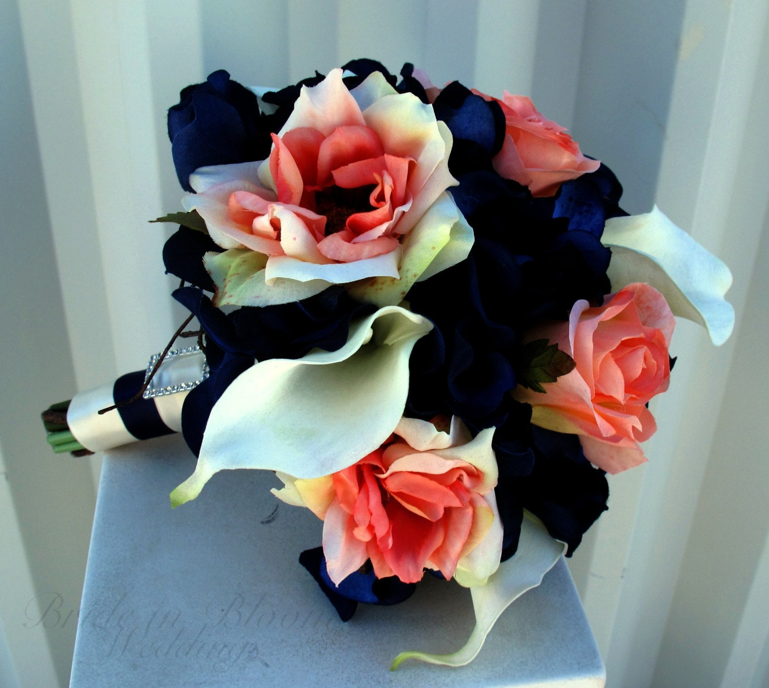 Wedding Bouquet Coral Cream Real Touch Calla Lily Silk Rose: Bridesmaid Bouquet Coral Navy White Calla Lily Rose Silk