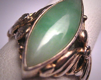 Antique Jade Ring Vintage Victorian Art Deco Chinese