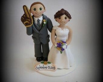 Wedding Cake Topper, Custom Cake Topper, Bride and Groom, Polymer Clay, Sports, Foam Finger, Personalized, Keepsake