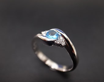 Diamond Wedding Ring with Blue Topaz in 14K White Gold
