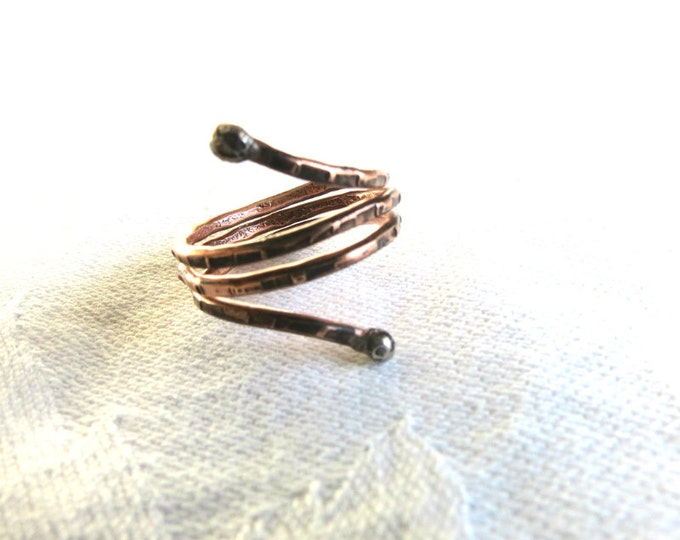 Rustic Spring Coil Ring Ring Coil Stacking Rings Copper Sterling Silver Primitive Handmade Gift