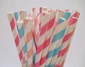 Cotton Candy - Stripe Paper Straws - Paper Party Straws - QTY 25 - My Little Pony birthday