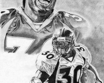 Terrell Davis of Denver Broncos Art poster