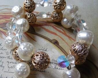 Baroque Pearl, Crystal & Filigree Bead Bracelet and Clip On Earrings Set