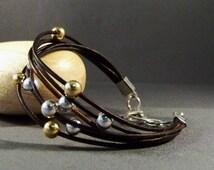 Brown Leather Bracelet, Sterling Silver Bracelet, 14k Gold Bracelet, Womens Leather Bracelet, Stacking Bracelet, Gift for Her