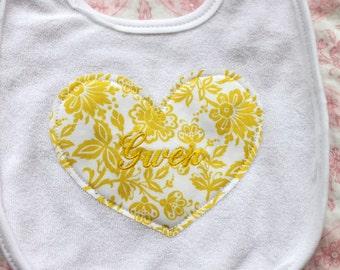 Baby Girl Personalized Heart Bib.  Monogrammed, Sweet Baby's 1st Birthday Bib Photo Prop, Cake Smash, gift, keepsake