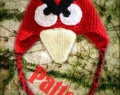 INSTANT DOWNLOAD Bird Hat PATTERN with Earflap & Tassles Redhawk Cardinal