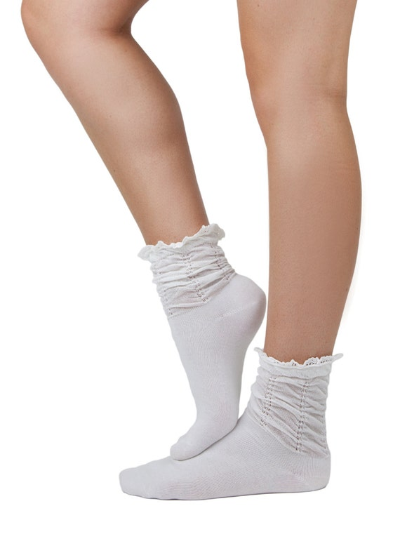 Lace Trim Boot Socks Short Socks With Lace Trim