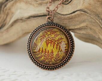 Fern Leaves Necklace, Antique Copper Pendant,Glass Cabochon Pendant With Chain