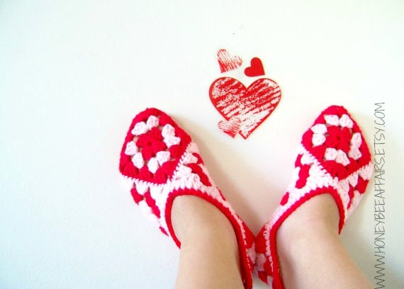 Valentine's Day Slipper Bootie Socks - Adult Size - Red and Pink