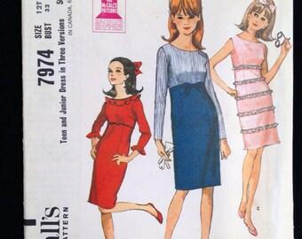 Vintage Sewing Pattern McCall's 7974 Teen Bust 32 Mad Men flutter sleeve ruffles 1960s 1965 High waisted Sleeveless