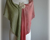 Scarf Maroon-Green  With LINEN Knitted Decorated By Ecru Leather Rose Eco Friendly Clothing Natural