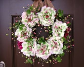 Spring Large Blooms and Berry Wreath with Burlap Bow, Purple and Cream Flowers and Berry Wreaths, Green Leaves Wreath & Burlap, Etsy Wreaths