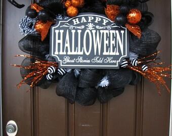 Happy Halloween Black Mesh Wreath, Halloween Witch Legs Wreath, Halloween Party Wreath, The Wright Wreath Halloween Etsy Wreath