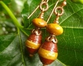 Mookaite and Paper Bead Copper Earrings
