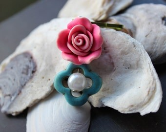 Day of the Dead Pink Rose Charm