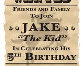 """Wanted Poster Cowboy/Western Theme Birthday Party Invitation - 5"""" x 7"""" - Digital Printable File"""