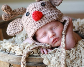 Red Nose Reindeer... baby hat.... photo prop....crochet hat.... photography prop..Newborn photo prop...25% off at checkout with code SEPT1