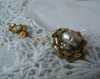 Vintage Signed Mariam Haskell Pearl Stick Pin, Haskell Pearl Brooch, Estate Jewelry