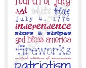 INSTANT DOWNLOAD   Subway Art   5x7   8x10   Fourth of July