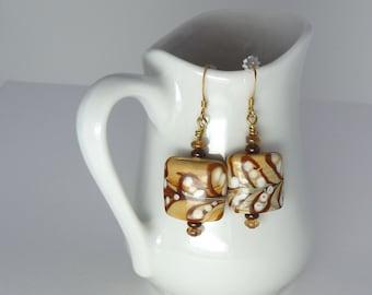 Swirled Caramel Coffee Glass Beaded Earrings