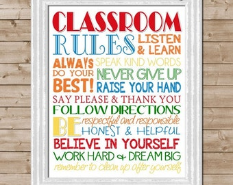 CLASSROOM Rules Subway Art, Teacher Gift, School -  Printable INSTANT Download