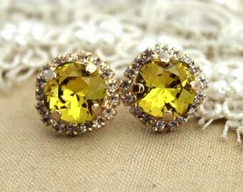 Lime Swarovski Rhinestone studs earring - 14k 1 micron Thick plated gold post earrings real swarovski rhinestones.