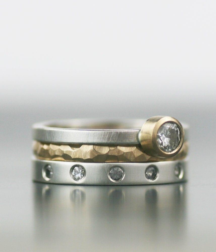 Contemporary Bands: Modern Wedding Band Set Stacking Wedding Ring Set