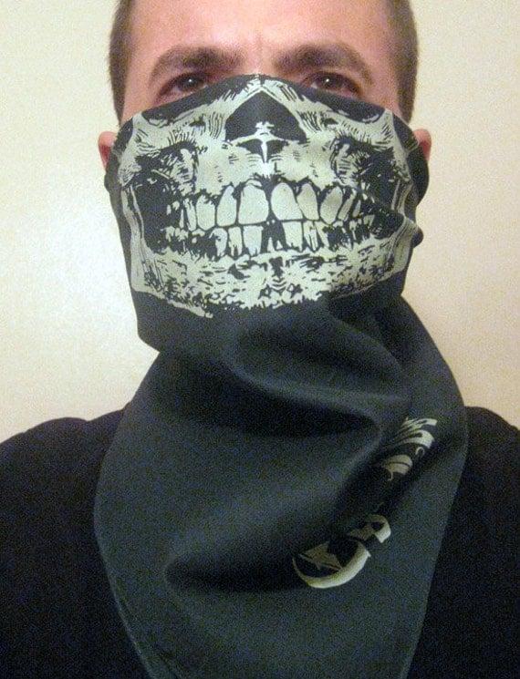 All Glow in the dark Skull Half Face Bandana Mask Neck Warmer Dust Neck Shield