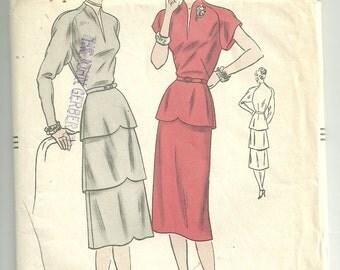 1950s Vogue Dress Pattern 5878, Dress with Peplum Size 12 Bust 30 FF