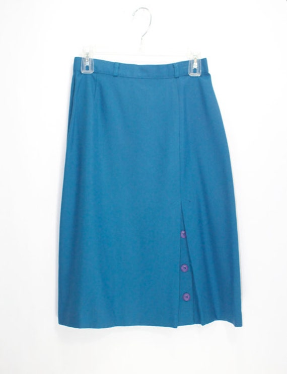 gorgeous 1980s teal blue skirt with adorable front pleat