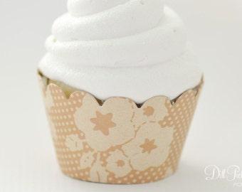 Kraft Floral Flower & polka dot print Cupcake Wraps - Set of 24 - Standard Size
